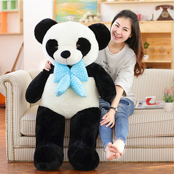 Panda Doll with Blue Bow Tie Can Gift of Love