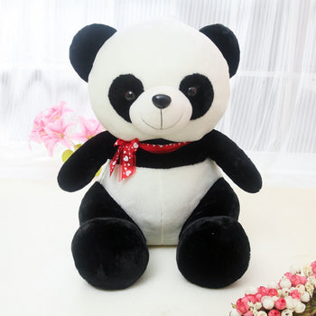 Panda Doll Sitting with Red Ribbon