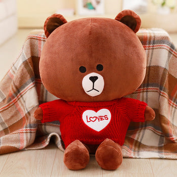Brown Bear Wear Red Lovely Sweater