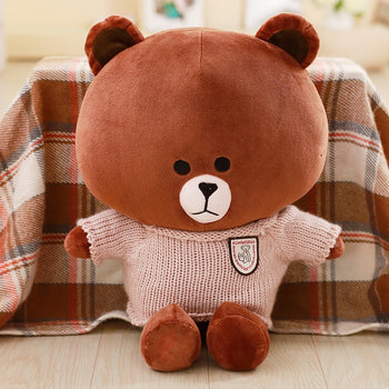 Brown Teddy Bear Wear Khaki Sweater Children Gift - MxDeals.com