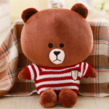 Brown Teddy Bear Wear Red And White Striped Sweater Children Gift