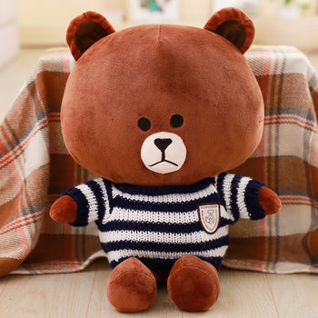 Brown Teddy Bear Wear Blue And White Striped Sweater Children Gift