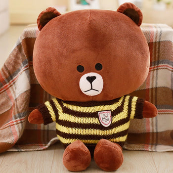 Brown Teddy Bear Wear Yellow Striped Sweater Children Gift