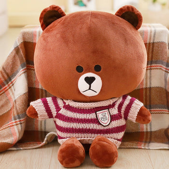 Brown Teddy Bear Wear Purple Striped Sweater Children Gift
