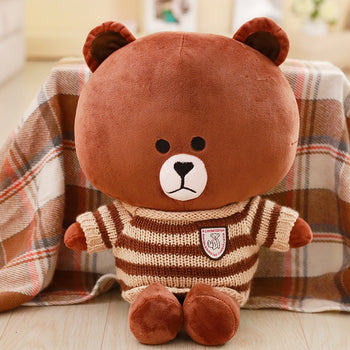 Brown Teddy Bear Wear Coffee Striped Sweater Children Gift - MxDeals.com