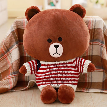 Brown Teddy Bear Wear Flag Striped Sweater