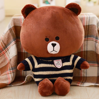 Brown Teddy Bear Wear Black Striped Sweater Ultra-Cute