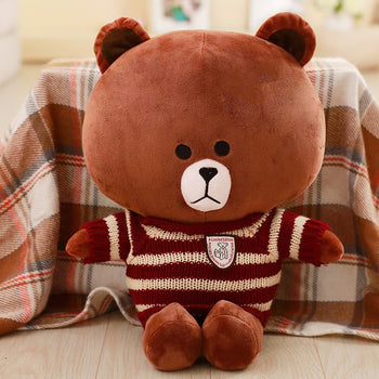 Brown Teddy Bear Wear Red Striped Sweater