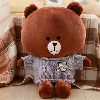 Brown Teddy Bear Wear Sweater Ultra-Cute