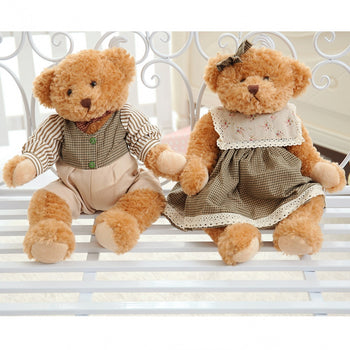 Couple's Teddy Bear Wear Green Texture Clothes