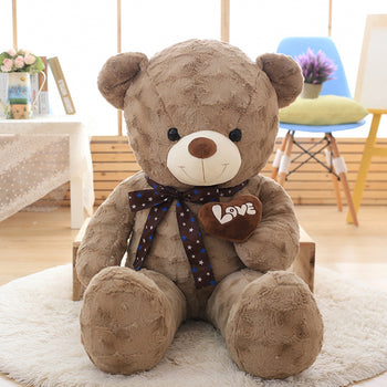 Dark Brown Teddy Bear New Style Hold Heart - MxDeals.com