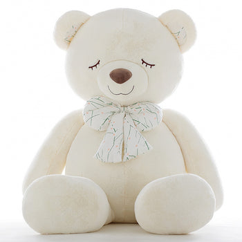 White Teddy Bear Big Bow Tie Squinting - MxDeals.com