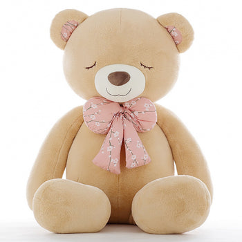 Light Brown Teddy Bear Big Bow Tie Squinting - MxDeals.com