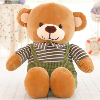 Green Striped Bib Teddy Bear