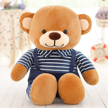 Blue Striped Bib Teddy Bear - MxDeals.com