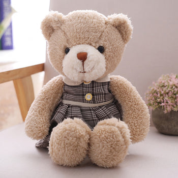 Brown Plaid Dress Teddy Bear