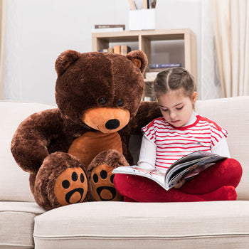 Cuddly Stuffed Animals Plush Cute Giant Teddy Bear Toy Doll for Birthday Children's Day Valentine's Day Dark Brown - MxDeals.com