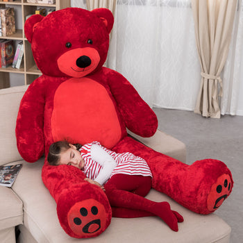 Red Cuddly Stuffed Animals Plush Cute Giant Teddy Bear Toy Doll for Birthday Children's Day Valentine's Day - MxDeals.com