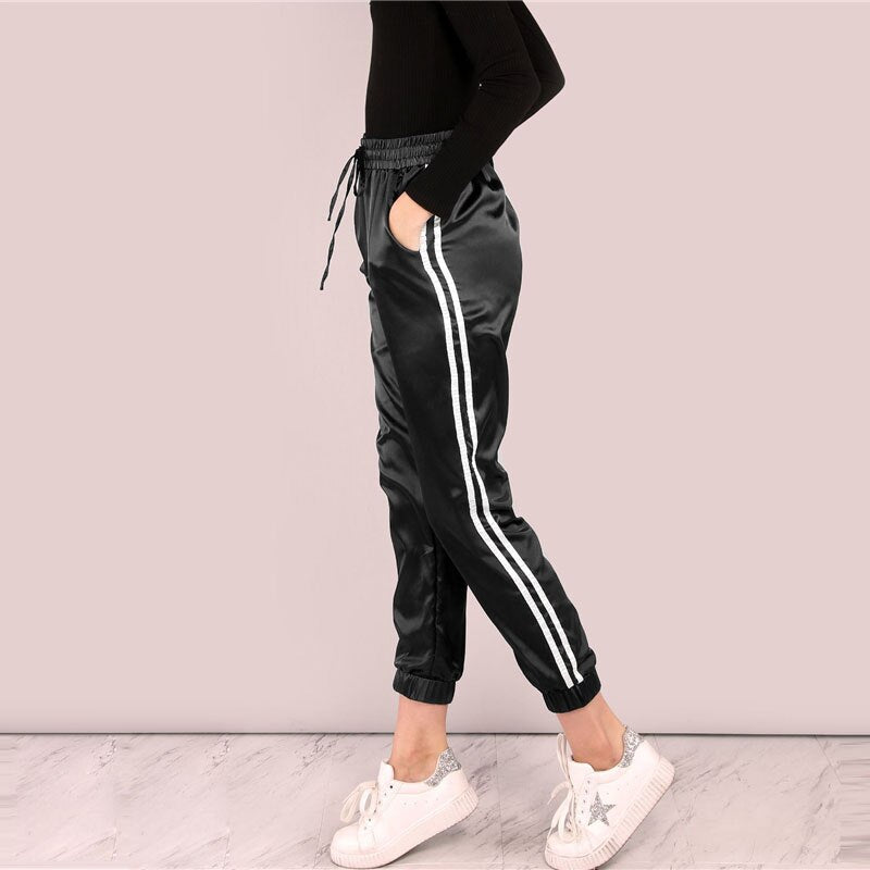Black Side Striped Satin Trainer Joggers Drawstring Waist Workout Sweatpants Autumn Active Women Casual Pants