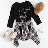 Black Round Neck Coffee Print Long Tees