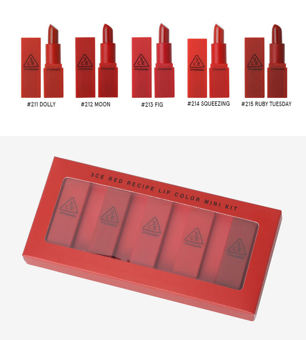 {3CE} RED RECIPE LIP COLOUR MINI KIT: #211, #212, #213, #214, #215