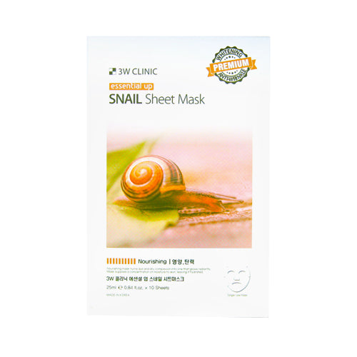{3W CLINIC} ESSENTIAL UP SHEET MASK - SNAIL