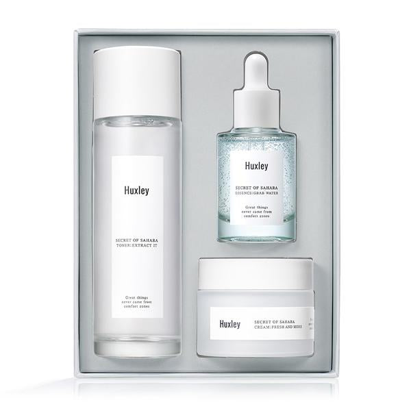 {HUXLEY} HYDRATION TRIO SET: TONER EXTRACT IT 120ML +ESSENCE GRAB WATER 30ML + CREAM FRESH & MORE 50ML