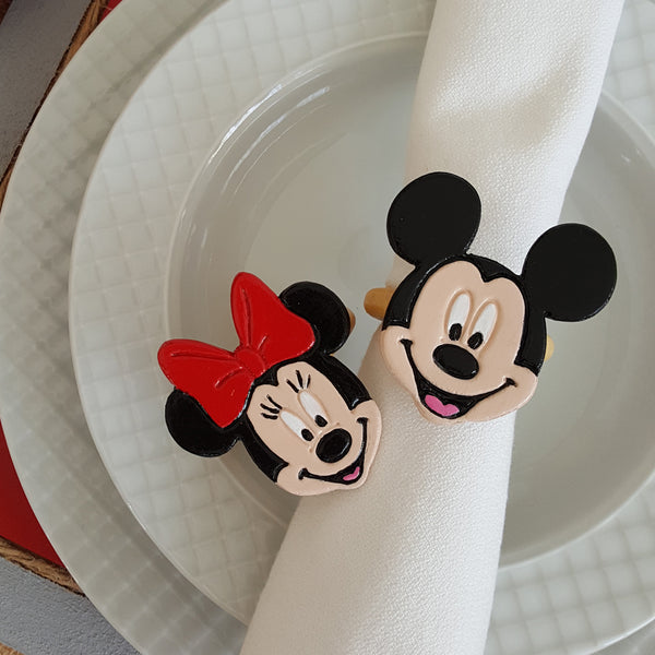 Minnie Mouse ve Mickey Mouse Seramik Peçete Halkası / Minnie Mouse and Mickey Mouse Ceramic Napkin Ring