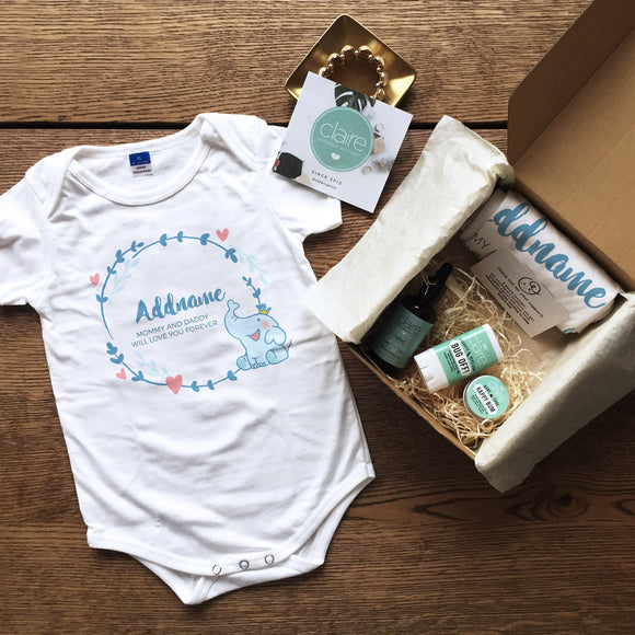 Blue Elephant Prince Personalised Newborn and Baby Essentials Gift Set