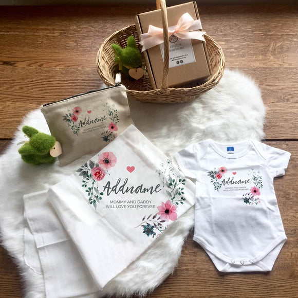 Watercolour Pink Floral Wreath Newborn Gift Set