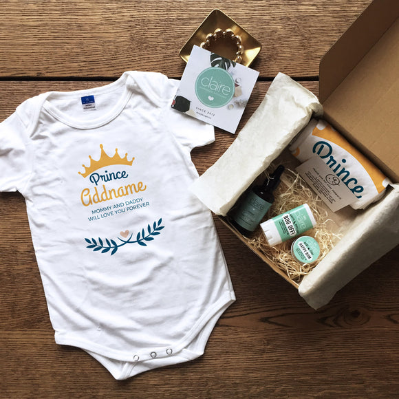 Prince with Crown and Blue Leaves Personalised Newborn and Baby Essentials Gift Set