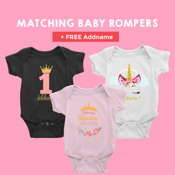 Matching Girl Baby Rompers