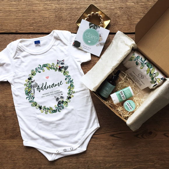 Watercolour Boy Wreath Personalised Newborn and Baby Essentials Gift Set