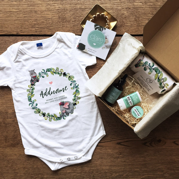 Watercolour Girl Wreath Personalised Newborn and Baby Essential Gift Set