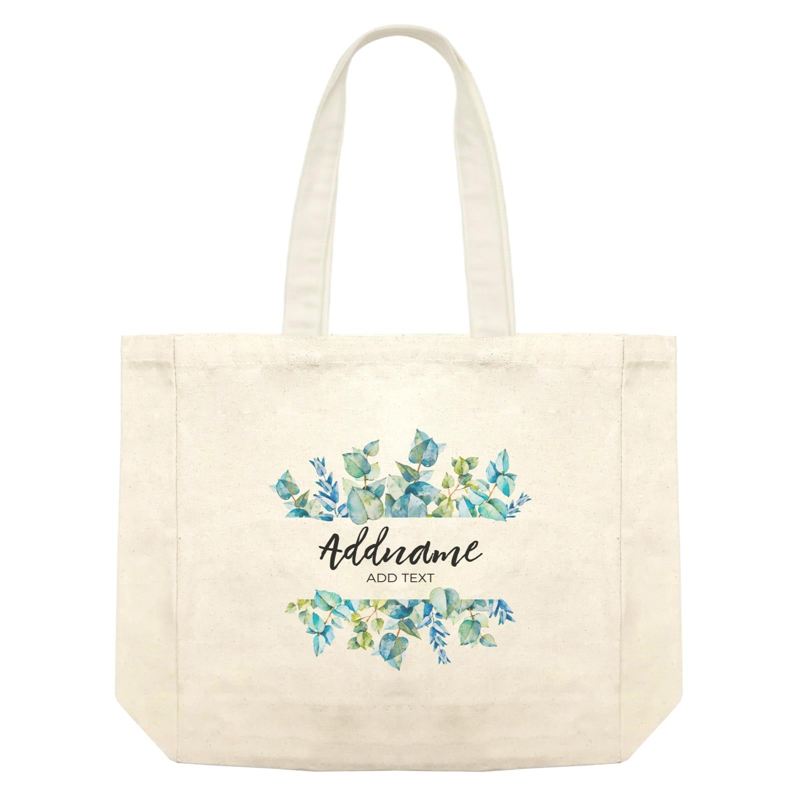 Add Your Own Text Teacher Blue Leaves Box Addname And Add Text Shopping Bag