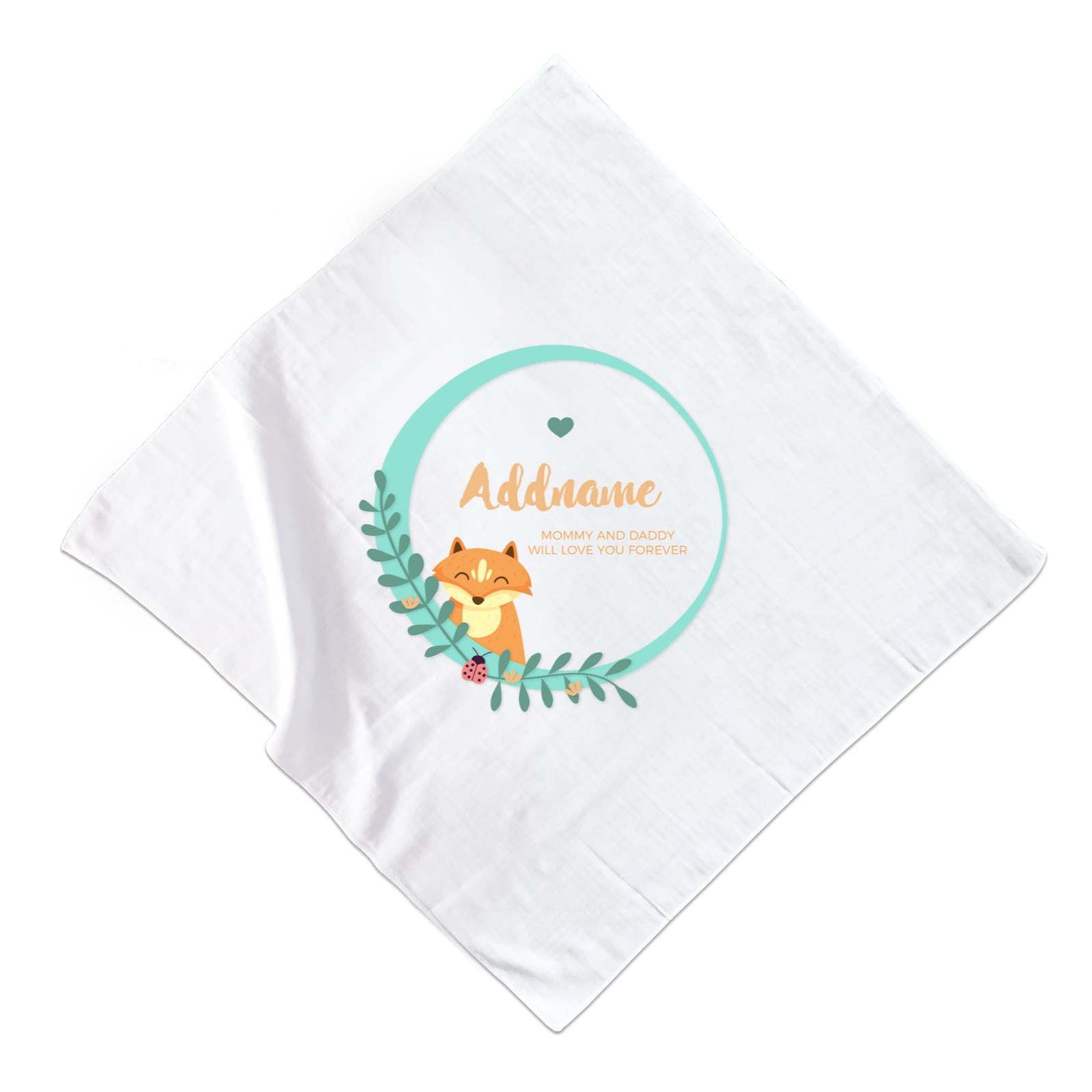 Cute Brown Fox in Turqoise Ring Personalizable with Name and Text Muslin Square