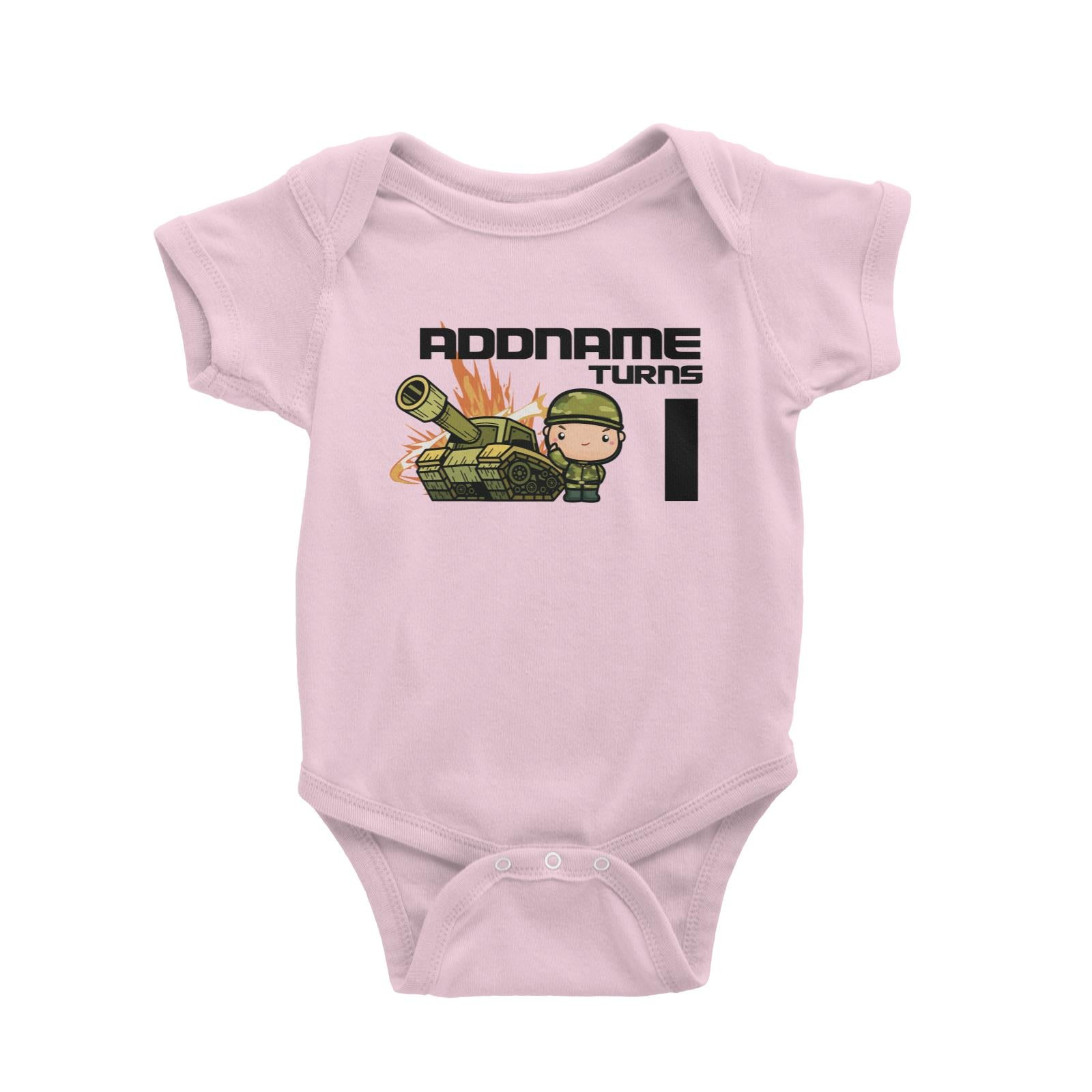 Birthday Battle Theme Tank And Army Soldier Boy Addname Turns 1 Baby Romper