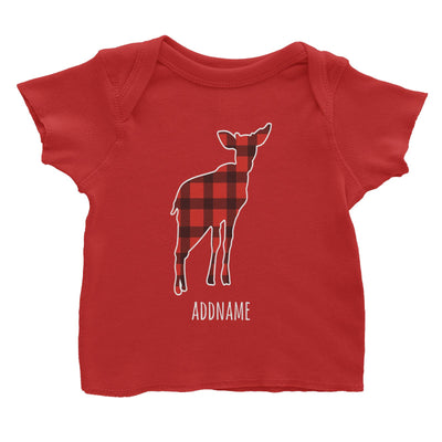 Baby Deer Silhouette Checkered Pattern Addname Baby T-Shirt Christmas Matching Family Animal Personalizable Designs
