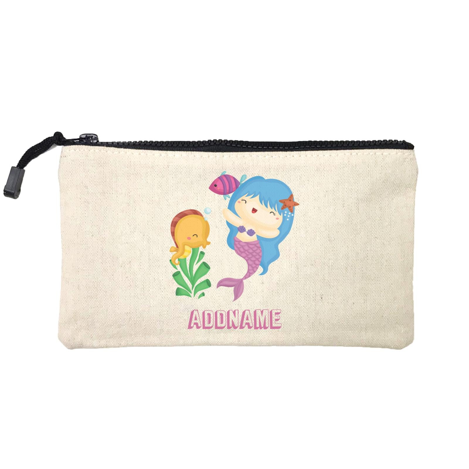 Birthday Mermaid Blue Hair Mermaid Playing With Seahorse Addname Mini Accessories Stationery Pouch