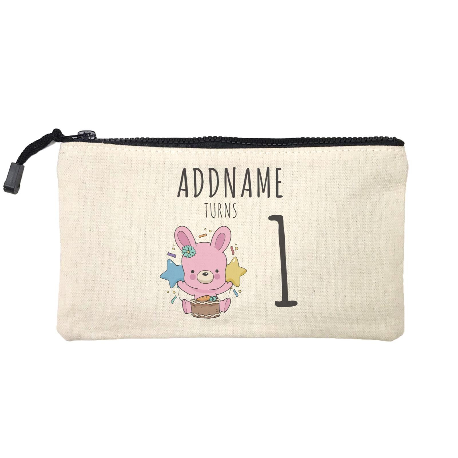 Birthday Sketch Animals Rabbit With Carrot Cake Addname Turns 1 Mini Accessories Stationery Pouch