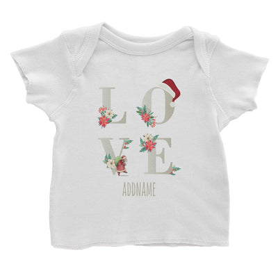 LOVE with Christmas Elements Addname Baby T-Shirt  Matching Family Personalizable Designs