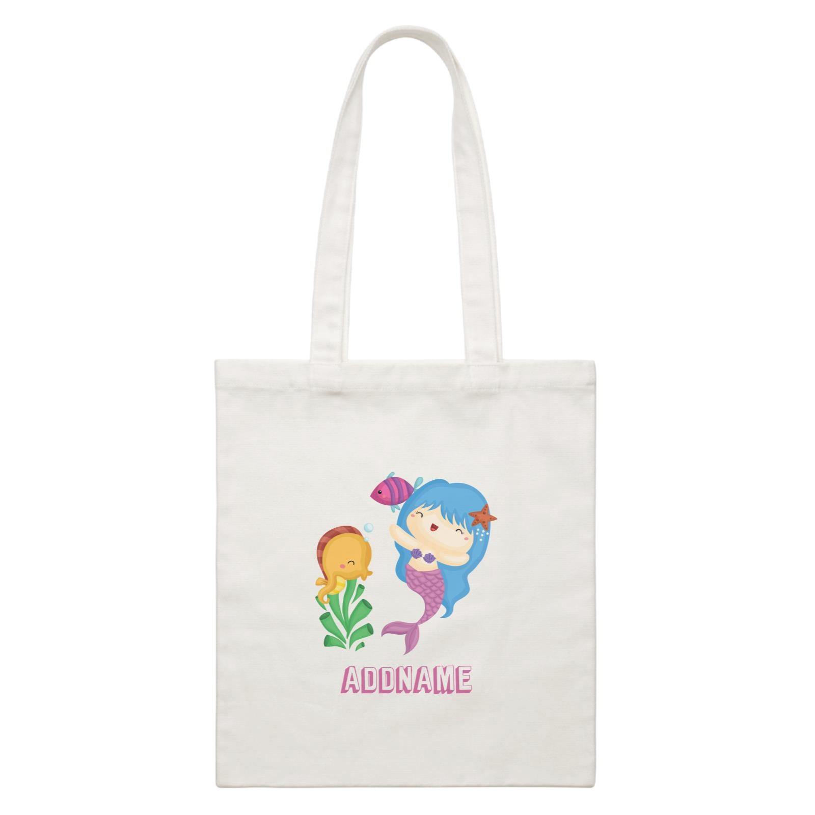 Birthday Mermaid Blue Hair Mermaid Playing With Seahorse Addname White Canvas Bag
