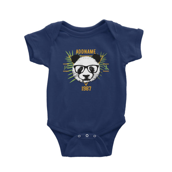 Jersey Panda With Glasses Personalizable with Name and Year Baby Romper