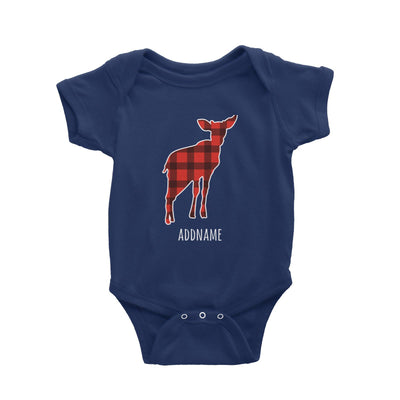 Baby Deer Silhouette Checkered Pattern Addname Baby Romper Christmas Matching Family Animal Personalizable Designs