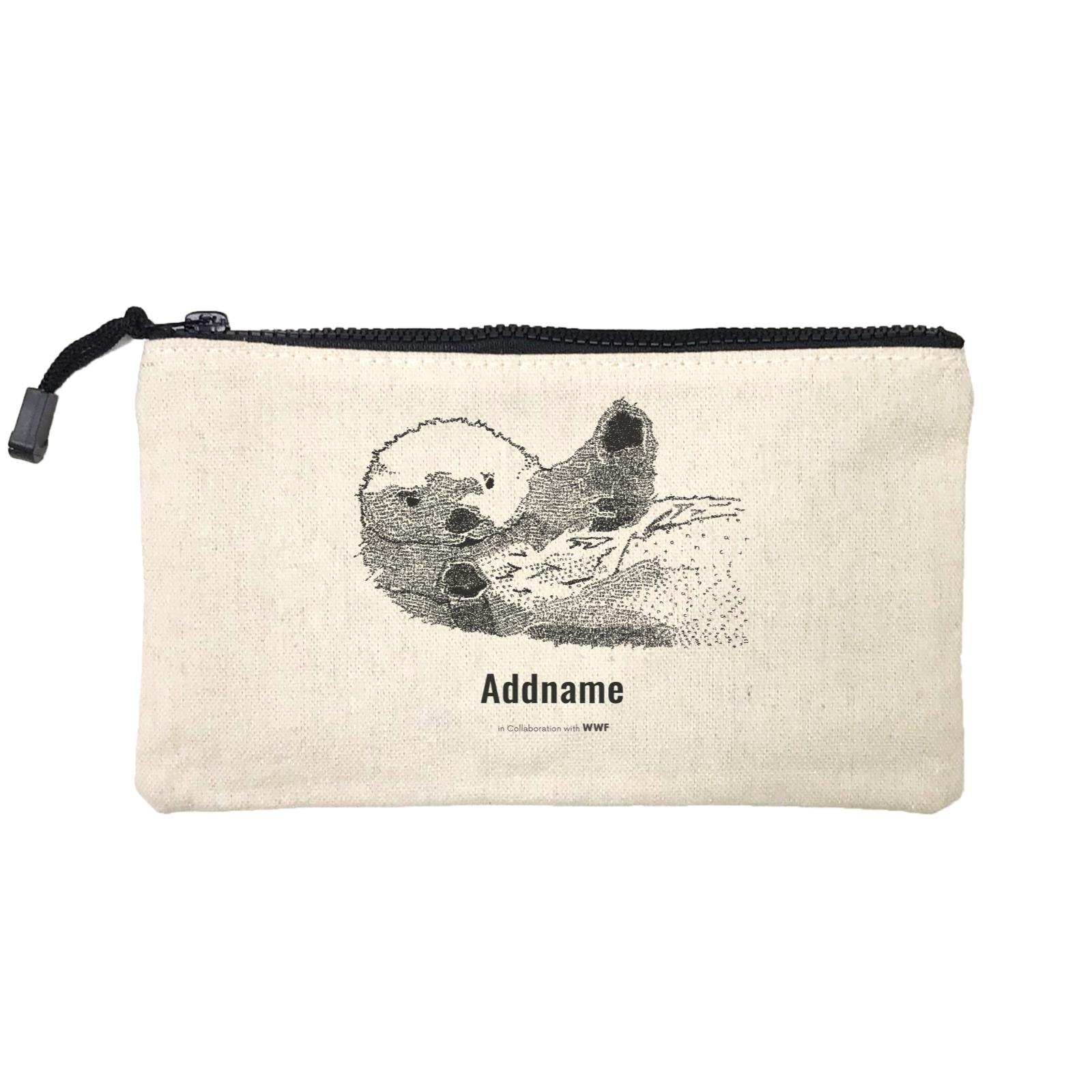 Hand Written Animals Sea Otter By ArtC Addname Mini Accessories Stationery Pouch