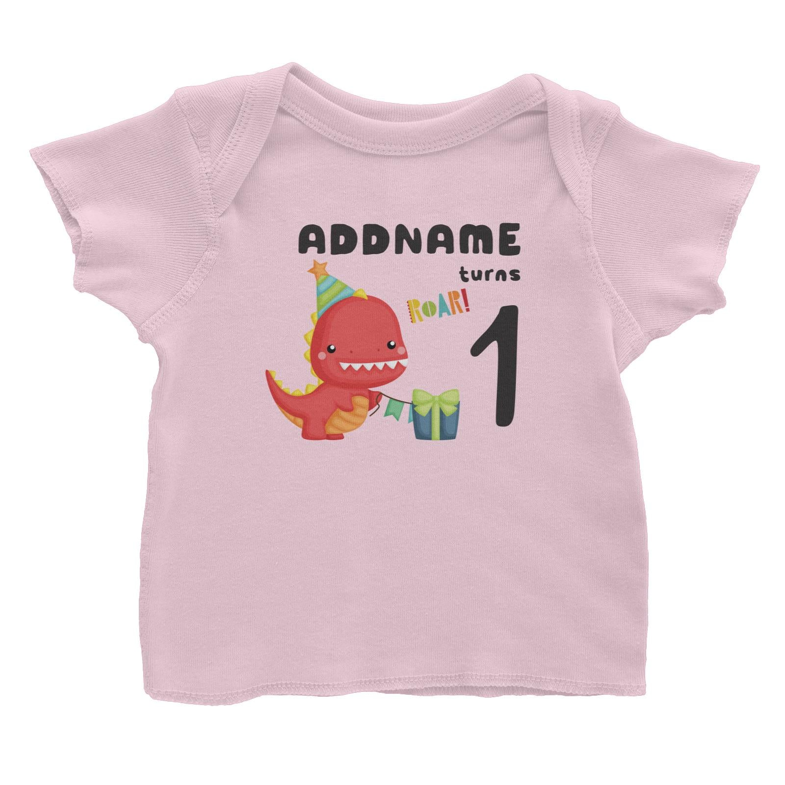 Birthday Dinosaur Happy Red Rex Wearing Party Hat Addname Turns 1 Baby T-Shirt
