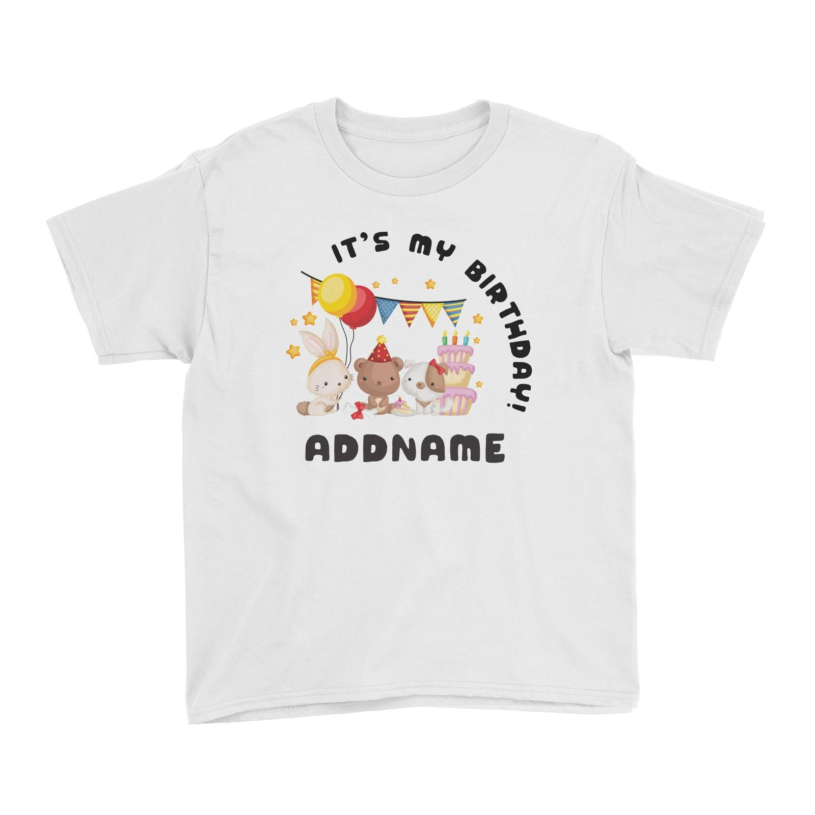 Birthday Friendly Animals Rabbit Bear And Dog Party Its My Addname Kids T Shirt