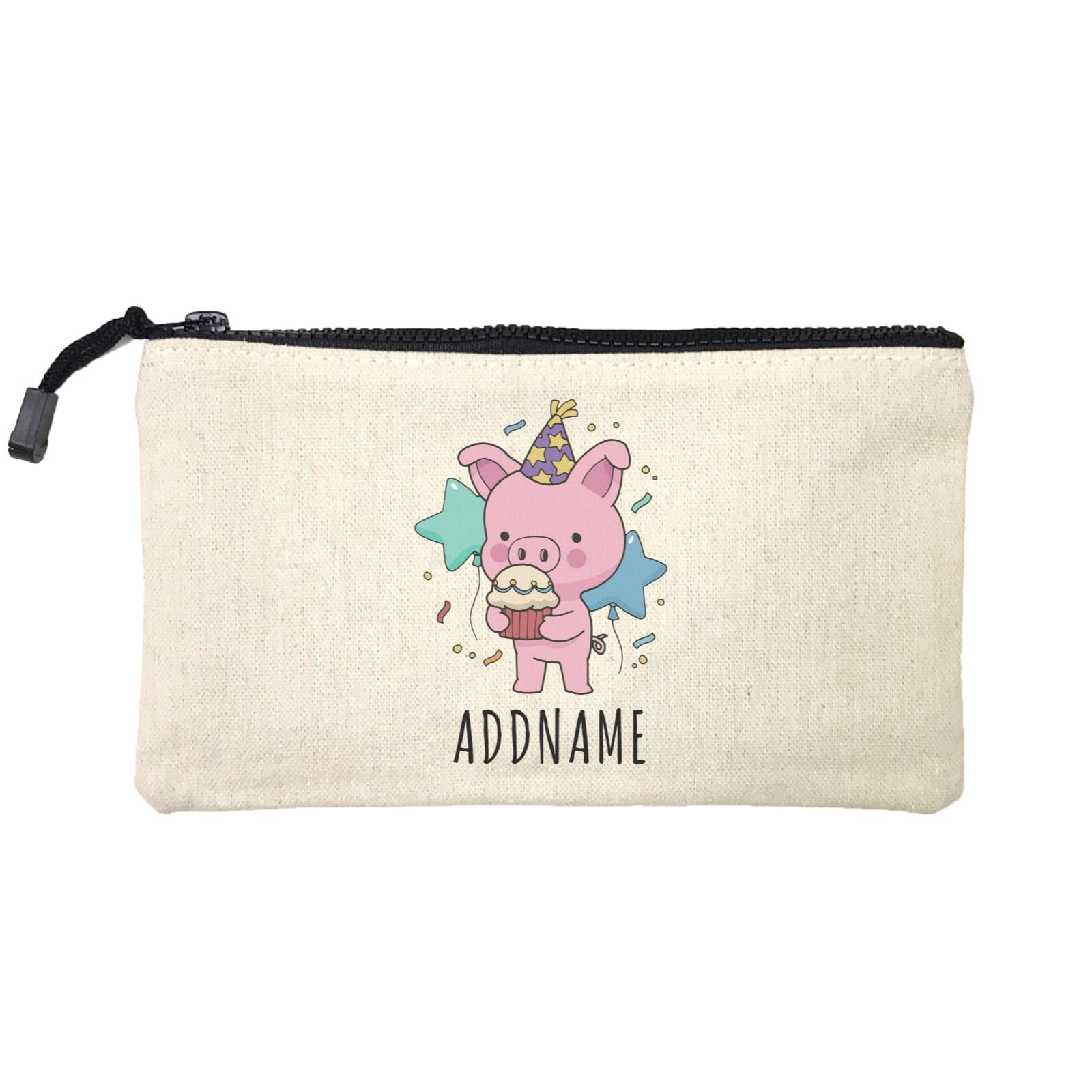Birthday Sketch Animals Pig with Party Hat Eating Cupcake Addname Mini Accessories Stationery Pouch
