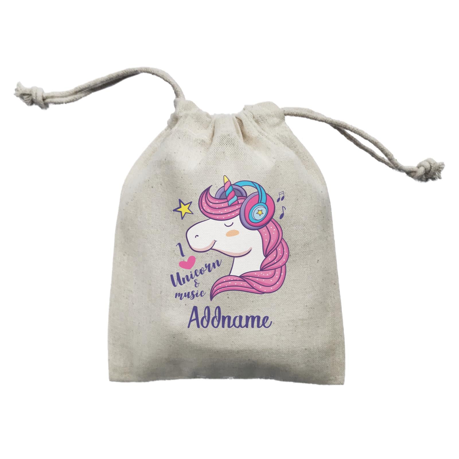 Cool Cute Unicorn I Love Unicorn & Music Addname Mini Accessories Mini Pouch