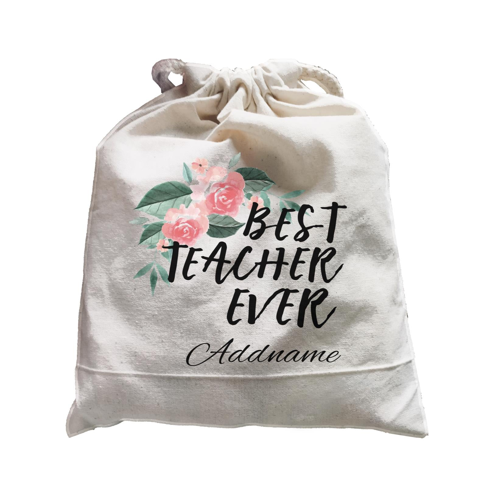 Great Teachers Watercolour Flowers Best Teacher Ever Addname Satchel